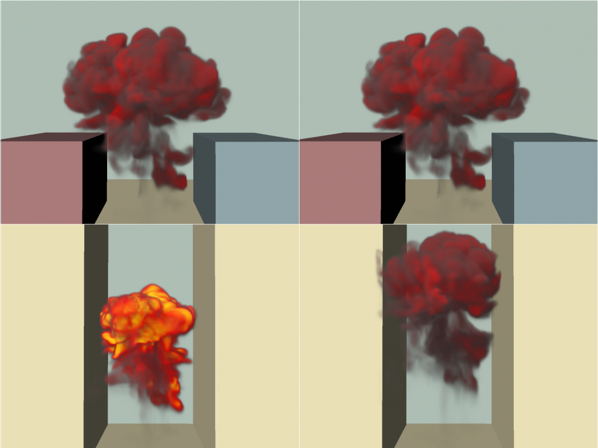 Controlling the Shape and Motion of Plumes in Explosion Simulations